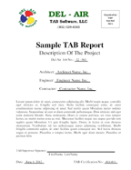 Del-Air TAB Software, LLC air water testing and balancing report ...
